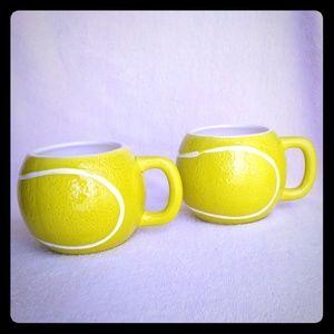 Set of 2 Sportcups LTD Tennis Ball Mugs Cups